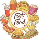 Diseño dibujado mano de los alimentos de preparación rápida con el bocadillo, las fritadas y la hamburguesa Consumición malsana Imágenes de archivo libres de regalías