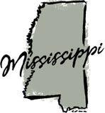 Diseño dibujado mano del estado de Mississippi ilustración del vector
