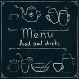 Diseño dibujado mano del menú del restaurante en la pizarra Imagen de archivo