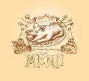 Diseño dibujado mano del título del menú del vector Fotografía de archivo