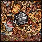 Diseño dibujado mano linda del marco del otoño de los garabatos de la historieta Foto de archivo