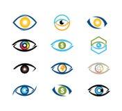 diseño digital del logotipo del vector de la tecnología del ojo de la visión fotografía de archivo libre de regalías