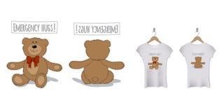 Diseño divertido de la impresión de la camiseta con el oso de peluche Modelo del vector stock de ilustración