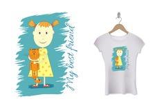 Diseño divertido de la impresión de la camiseta de los niños Modelo del vector libre illustration