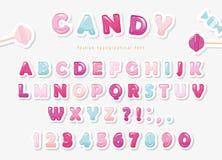 Diseño dulce cortado papel de la fuente Letras y números de ABC del caramelo Rosa en colores pastel y azul stock de ilustración