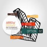 Diseño e infographics dibujados mano de la flecha del vector Fotos de archivo