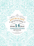 Diseño elegante azul retro de la invitación Fotografía de archivo