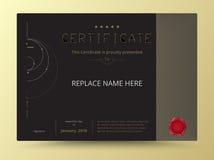 Diseño elegante de la plantilla del certificado del diploma con p internacional ilustración del vector