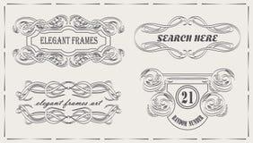 Diseño elegante de los marcos del vector del vintage para la decoración Foto de archivo libre de regalías