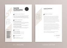 Diseño elegante del CV - plantilla de la carta de presentación del curriculum vitae - ROS stock de ilustración