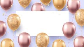 Diseño elegante del día de fiesta con los globos que vuelan realistas Partido, celebración, fondo del festival foto de archivo libre de regalías