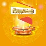 Diseño elegante moderno del diwali con la vela con adornado de oro Diseño de moda del fondo de Diwali Ilustración del vector ilustración del vector