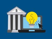 diseño en línea del banco ilustración del vector