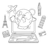 Diseño en línea del servicio del viaje y de la reservación Fotografía de archivo libre de regalías