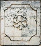 Arquitectura colonial española de la pared coralina del bloque Imagenes de archivo