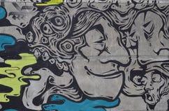 Diseño en una pared, fondos urbanos de la pintada Foto de archivo