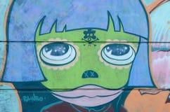 Diseño en una pared, fondos urbanos de la pintada Fotos de archivo libres de regalías