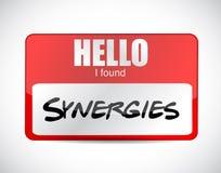 Diseño encariñado del ejemplo de la etiqueta del nombre de las sinergias i libre illustration