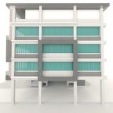 diseño exterior de la arquitectura moderna del edificio de oficinas 3D en blanco Fotos de archivo