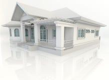 diseño exterior de la casa del vintage 3D con el refelction en el backgr blanco Fotografía de archivo libre de regalías