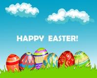Diseño feliz colorido de la tarjeta de felicitación de Pascua