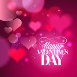 Diseño feliz de la caligrafía del día de tarjetas del día de San Valentín con los corazones ilustración del vector