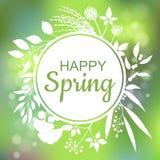 Diseño feliz de la carta verde de la primavera con un fondo abstracto texturizado y texto en marco floral cuadrado Imagen de archivo libre de regalías