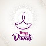 Diseño feliz de la lámpara de aceite del diya del diwali