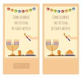Diseño feliz de la tarjeta de felicitación de Jánuca, nevando Imagen de archivo libre de regalías