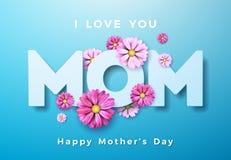 Diseño feliz de la tarjeta de felicitación del día de madres con la flor y te amo elementos tipográficos de la mamá en fondo azul libre illustration