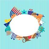 Diseño feliz de la tarjeta de felicitación de Jánuca Imagen de archivo