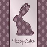 Diseño feliz de la tarjeta de felicitación de Pascua con el conejito de pascua de papel Ilustración del vector stock de ilustración