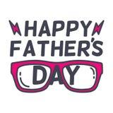 Diseño feliz de la tipografía del día del padre s con sunglass Ejemplos del vector del día del padre s stock de ilustración