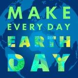 Diseño feliz de la tipografía del Día de la Tierra stock de ilustración