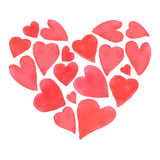 Diseño feliz de los corazones del día de tarjetas del día de San Valentín de la acuarela Fotos de archivo