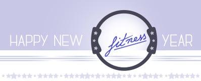Diseño feliz del año de la aptitud del vector nuevo con el anillo de Pilates Foto de archivo libre de regalías