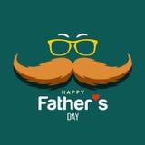 Diseño feliz del bigote del marrón del día de padre stock de ilustración