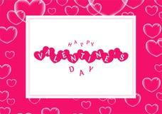 Diseño feliz del cartel o de la bandera de día de San Valentín adornado con el corazón transparente ilustración del vector