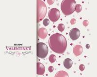 Diseño feliz del día de tarjetas del día de San Valentín con Rose Balloons ilustración del vector