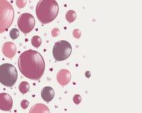 Diseño feliz del día de tarjetas del día de San Valentín con Rose Balloons stock de ilustración