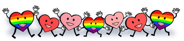 Diseño feliz del día del ` s de la tarjeta del día de San Valentín del arco iris del amor gay de los corazones Fotografía de archivo