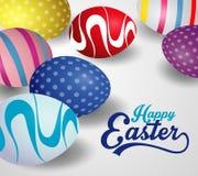 Diseño feliz del fondo de pascua con los huevos de Pascua coloridos Plantilla de la tarjeta de felicitaciones de Pascua con el es fotografía de archivo libre de regalías