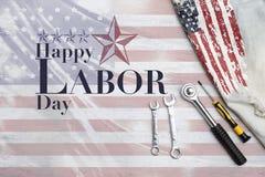 Diseño feliz del logotipo del Día del Trabajo en bandera americana abstracta Imagen de archivo