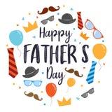 Diseño feliz del vector del día del ` s del padre, con estilo de la historieta de los elementos del diseño con el fondo de madera ilustración del vector