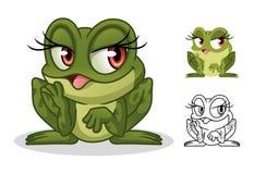 Diseño femenino de la mascota del personaje de dibujos animados de la rana stock de ilustración