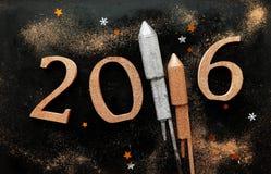 Diseño festivo de la tarjeta de felicitación del Año Nuevo 2016 Fotografía de archivo