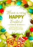 Diseño festivo del cartel de la historieta de la guirnalda del huevo de Pascua