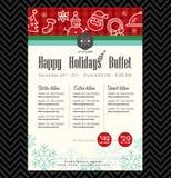 Diseño festivo del menú del restaurante de la fiesta de Navidad Imágenes de archivo libres de regalías