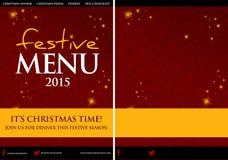 Diseño festivo del menú del restaurante de la Navidad Fotografía de archivo libre de regalías