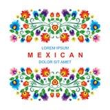 Diseño floral étnico mexicano precioso de la decoración stock de ilustración